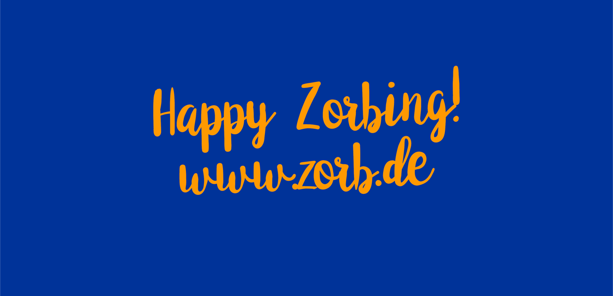 Happy Zorbing-Logo blau und orange