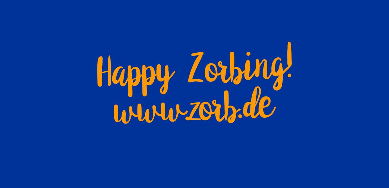 Happy Zorbing-Logo blau und orange